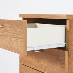 スライドテーブル付きカウンター下収納庫シリーズ チェスト幅41.7cm 引き出しはスライドレール付きで、奥まで開閉スムーズ。