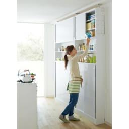 狭いキッチンでも置ける!薄型引き戸パントリー収納庫 奥行21cmタイプ 幅90cm 場所をとらない引き戸で効率よく収納。