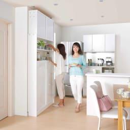 狭いキッチンでも置ける!薄型引き戸パントリー収納庫 奥行21cmタイプ 幅120cm 収納庫を使っているときもすれ違うことが出来る薄型引き戸設計なので、マンションやシステムキッチンのお家にもおすすめです。