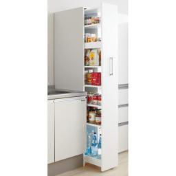 頑丈ボックス付きすき間ワゴン 奥行45cmタイプ 幅15cm キッチンのすき間があっという間に大量収納庫に変身します!(ア)ホワイト ※写真は奥行55幅25cmタイプです。お届けは奥行45幅15cmとなります。