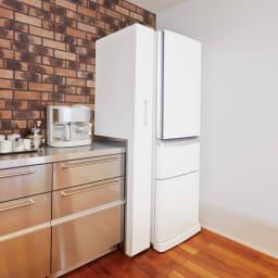 頑丈ボックス付きすき間ワゴン 奥行55cmタイプ 幅25cm 見た目すっきり!ワゴンを収めれば冷蔵庫と一体化したよう。目隠しとホコリ防止ができます。