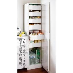 スライドトレー式 大量収納キッチンストッカー 幅50 使用イメージ(右開き設定時) ※写真は幅40cmタイプです。