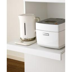 組立不要 幅と高さが選べる家電収納庫 ロータイプ 幅45cm・奥行45cm スライドテーブルは蒸気の出る家電も安心。