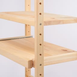国産ひのきキッチンラック スライド2段タイプ ハイタイプ(高さ179cm)幅60cm 【棚は全段可動】棚板とスライドテーブルは6cm間隔で高さの位置を調節可能。