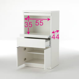 必要なものだけコンパクトに置ける ミニマリストのためのミニマルレンジ台 扉タイプ 幅59cm ※赤文字は内寸(単位:cm)