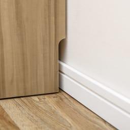 幅が1cm単位でオーダーできる2面オープンすき間収納庫 奥行45cm 幅40~45cm 背面下部には幅木よけカット(1×9cm)が施してあり、壁にすき間なくぴったりと設置ができます。