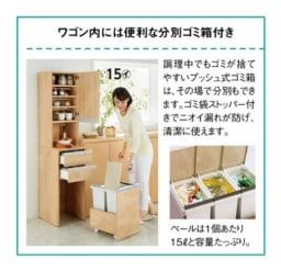 分別ごみ箱付きすき間収納庫 2分別ロータイプ 奥行45高さ85cm ワゴン内には便利な分別ゴミ箱付き。画像はハイタイプの2分別です。