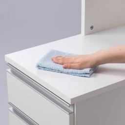 分別ごみ箱付きすき間収納庫 3分別 ハイタイプ 中天板はポリエステル化粧合板で汚れもひとふきで綺麗に。