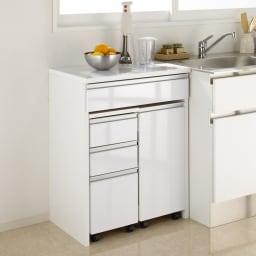 間仕切りキッチンカウンター カウンターデスク 幅65cm チェストとワゴンはデスク内に一体収納。 ※お届けはカウンターデスクのみです。