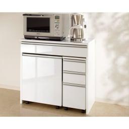 間仕切りキッチンカウンター カウンターデスク 幅90cm 別売りのチェストとワゴンはデスク内に一体収納。