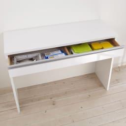 間仕切りキッチンカウンター カウンターデスク 幅120cm 引き出し付きなので、カトラリーやランチョンマット、ゴミ袋入れなどに便利です。