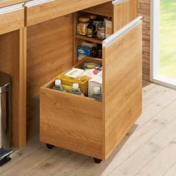 間仕切りキッチンカウンター ワゴン 幅54cm (イ)ブラウン ワゴン…飲み物や食品のストック、キッチンペーパーもすっきり。