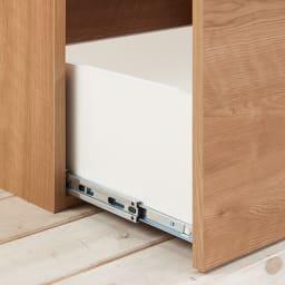 組立不要 スライド天板キッチン収納 引き出し 幅76cm 最下段はフルスライドレールでしっかり引き出せます。