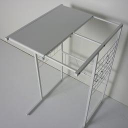 幅が伸縮するキッチン作業台ラック 奥行30cm 幅30cm~50cm 2面天板仕様です。