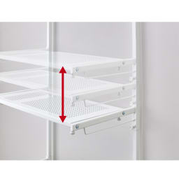 天井の梁や段差が避けられるノルディックランドリーラック 棚3段 棚の高さはお好みの位置に無段階に可動。