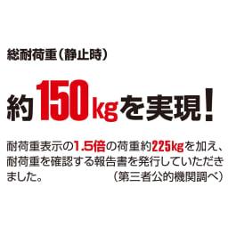 耐荷重約150kg ステンレス洗濯機置き台【洗濯機設置台】 第三者公的機関で試験しました。 静止耐荷重約150kgの頑丈ラックです。