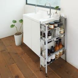 ステンレス洗濯機サイドラック 3段 幅17.5cm高さ80.5cm