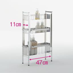 ステンレス洗濯機サイドラック 3段 幅17.5cm高さ80.5cm 2段目は高さが3段階に調節可能です。 ※赤文字は内寸