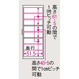 ボックス付きリバーシブル すき間収納庫 幅21奥行58cm 有効内寸図(単位:cm) 幅13.5(最下段幅12.5)cm