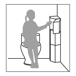 トイレコーナーラック 上部ゴミ箱付き 高さ100cm 最上段ならラクな姿勢でゴミが捨てられます。