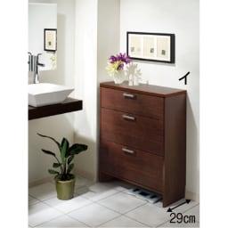 薄型フラップ収納チェスト 幅59cm・奥行19cm (イ)ブラウン モダンな雰囲気のサニタリー収納におすすめです。※写真は幅74奥行29cmタイプです。