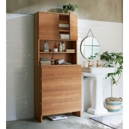 家電が使えるコンセント付き 多機能洗面所チェスト 幅30cm 使用イメージ(イ)ブラウン ※写真は幅75cmタイプです。