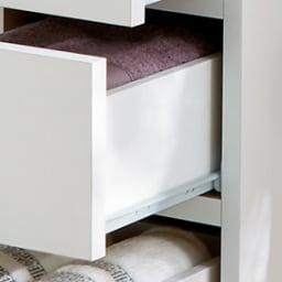 組立不要 お掃除しやすい 湿気を気にしない 多段すき間チェスト 4段・幅29.5奥行29.5cm 引き出しは全段スライドレール付きで開閉がスムーズです。