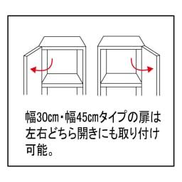 組立不要 出し入れしやすい(自由に使える)光沢仕上げ快適収納庫 幅45奥行35cm 幅30cm、幅45cmタイプの扉は左右どちら開きにも取り付けが可能です。