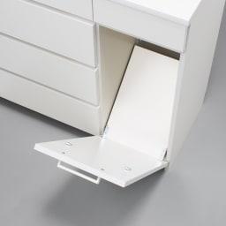 隠せる脱衣カゴ付きサニタリー収納庫 幅43.5cm カゴ大1個 フラップ内側まで美しい化粧仕上げ。