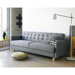 デザインにもこだわったソファベッド 幅196cm奥行70cm コーディネート例(ア)ダークグレー ※写真は幅176cmタイプです。