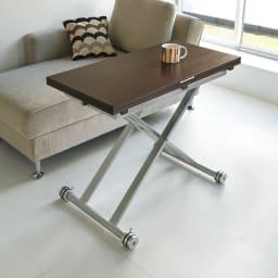 伸長式ガス圧昇降テーブル 幅100(天板90)cm 通常時。コーヒーテーブル使い (イ)ダークブラウン