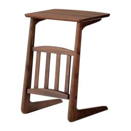 カフェ風天然木ソファサイドテーブル 幅40cm (ア)ダークブラウン