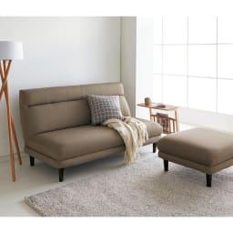 カフェ風天然木ソファサイドテーブル 幅40cm コーディネート例(イ)ナチュラル ※写真は幅55cmタイプです。