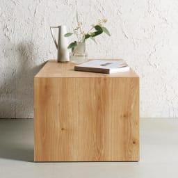 折りたたみできるスマートスタイルテーブル 89×44cm 無駄をそぎ落としたシャープなデザイン コーディネート例(ウ)ナチュラル(木目) ナチュラルは木目が美しいグレイッシュな天然木調。