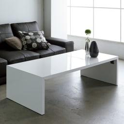 折りたたみできるスマートスタイルテーブル 89×44cm コーディネート例(ア)ホワイト(光沢) ※写真は120×59cmタイプです。