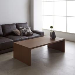 折りたたみできるスマートスタイルテーブル 120×59cm コーディネート例(イ)ダークブラウン(木目)