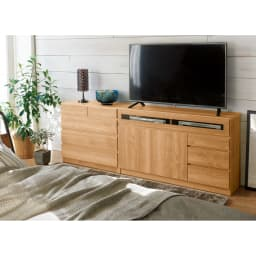【完成品・国産家具】ベッドルームで大画面シアターシリーズ チェスト 幅80高さ55cm 色見本(エ)ブラウン 木目調