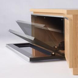 住宅事情を考えた天然木調コーナーテレビ台・テレビボード 右コーナー用 幅165cm ガラス扉はダンパー仕様なので、ゆっくりと開きます。