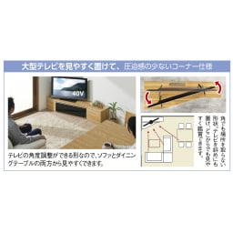 住宅事情を考えた天然木調コーナーテレビ台 右コーナー用 幅165cm ※写真は左コーナー用・幅165cmです。