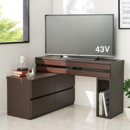 ラインスタイル伸長式テレビ台・テレビボード ハイタイプ(高さ70cm) (ウ)ダークブラウン(右タイプ)  小物も飾れて省スペースで置けるコーナー活用。 ※写真は幅120~193cmタイプです。