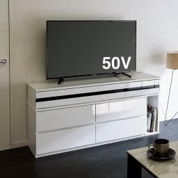 ラインスタイル伸長式テレビ台・テレビボード ハイタイプ(高さ70cm) (ア)ホワイト(右タイプ)≪幅最小時≫ ※写真は幅150~247cmタイプです。