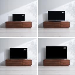 天然木無垢材のテレビ台・テレビボード アッシュ天然木 幅150cm テレビの配置バランス参考例