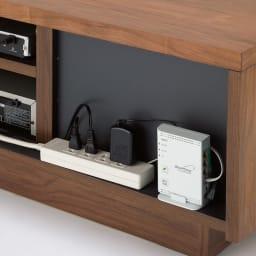 天然木無垢材のテレビ台・テレビボード アッシュ天然木 幅150cm 背面スペースにモデムやコンセントタップを収納。(※仕様イメージ)