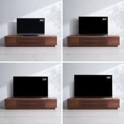 天然木無垢材のテレビ台・テレビボード ウォルナット天然木 幅200cm テレビの配置バランス参考例