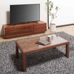天然木無垢材のテレビ台・テレビボード ウォルナット天然木 幅200cm ※写真はテレビ台・幅150cmです。