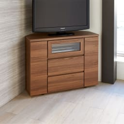 天然木調お掃除がしやすいコーナーテレビ台・テレビボード ハイタイプ 幅90cm (ア)ダークブラウン