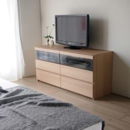パモウナGV-140ダイニングからシアターリビングシリーズ テレビ台 幅140cm ベッドルームのテレビ台に絶妙な高さ65センチ。