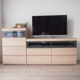 パモウナGV-63 ダイニングからシアターリビングシリーズ キャビネット 幅60cm テレビ台とチェストは奥行き共通の44cmなので、ぴったり並べて使用できます。