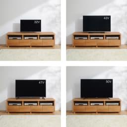 アルダー天然木アールデザインテレビ台・幅164cm テレビ台とテレビのバランス参考。※テレビメーカーによって同じインチ数でもサイズがことなります。ご使用のテレビサイズをご確認ください。