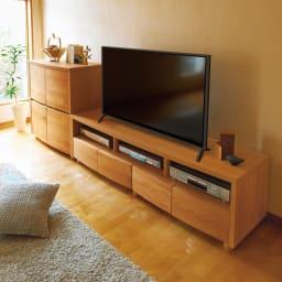 アルダー天然木アールデザインテレビ台・幅164cm 使用イメージ(ア)ライトブラウン